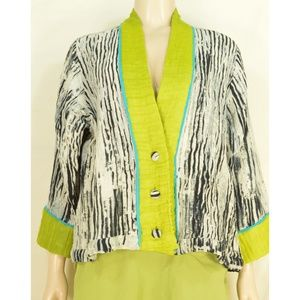 Shekina Forms in Silk jacket SZ M black green blue